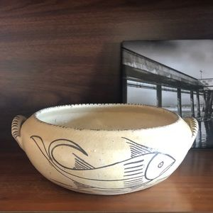 Vintage Hand Painted Pottery Bowl with Handles